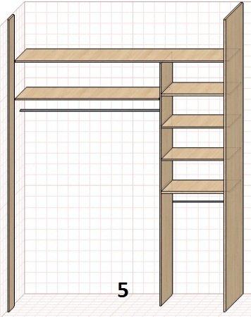 Возможные варианты внутреннего заполнения шкафов-купе.